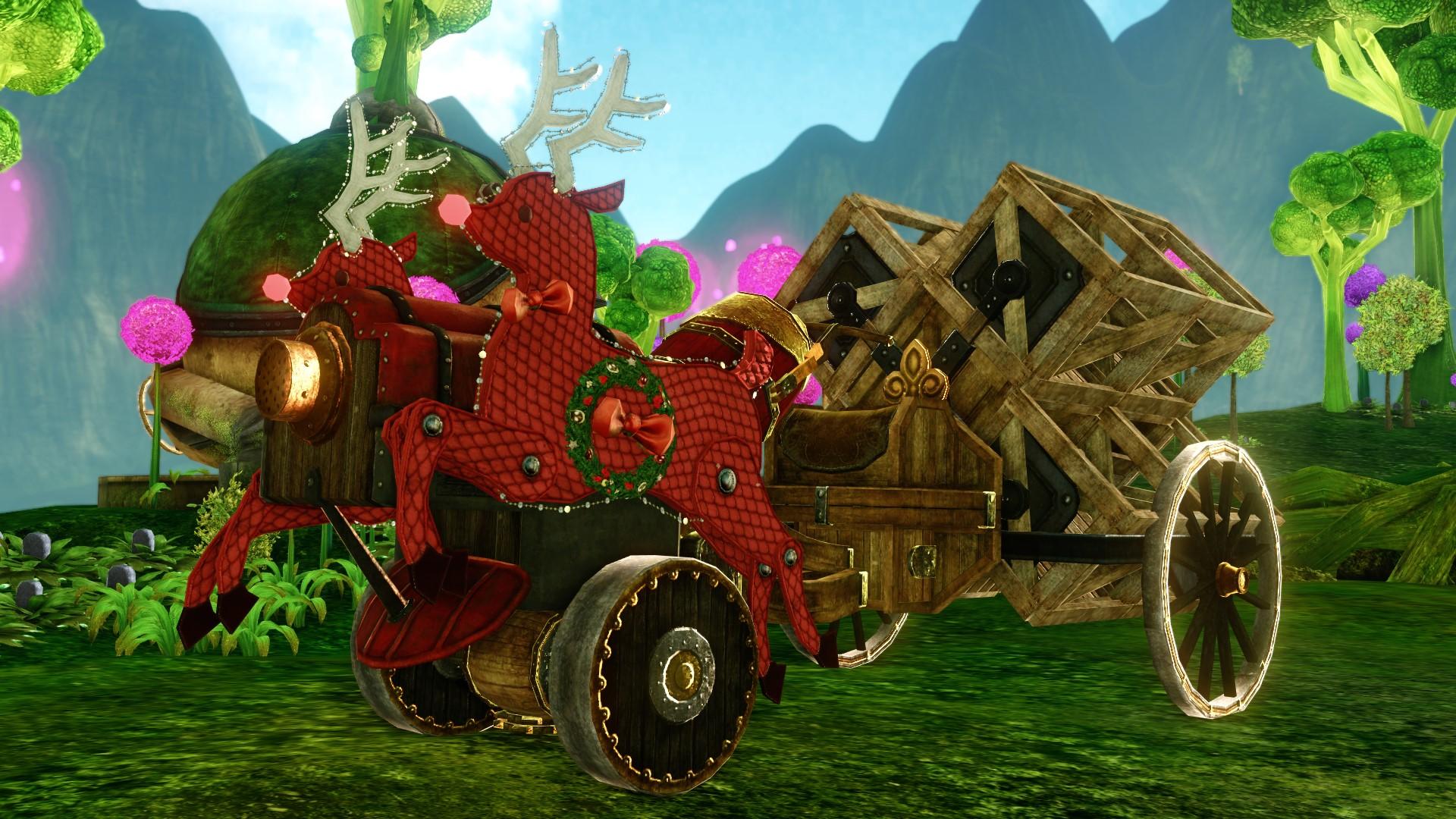 Двухместный грузовой трактор с неверинскими оленями
