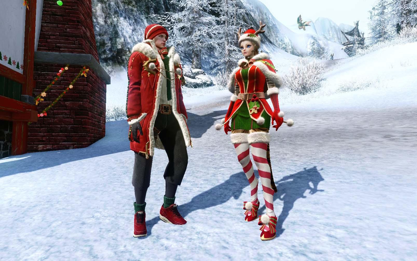 Дизайн красного костюма жителя Неверинской деревни на мужском и женском персонажах