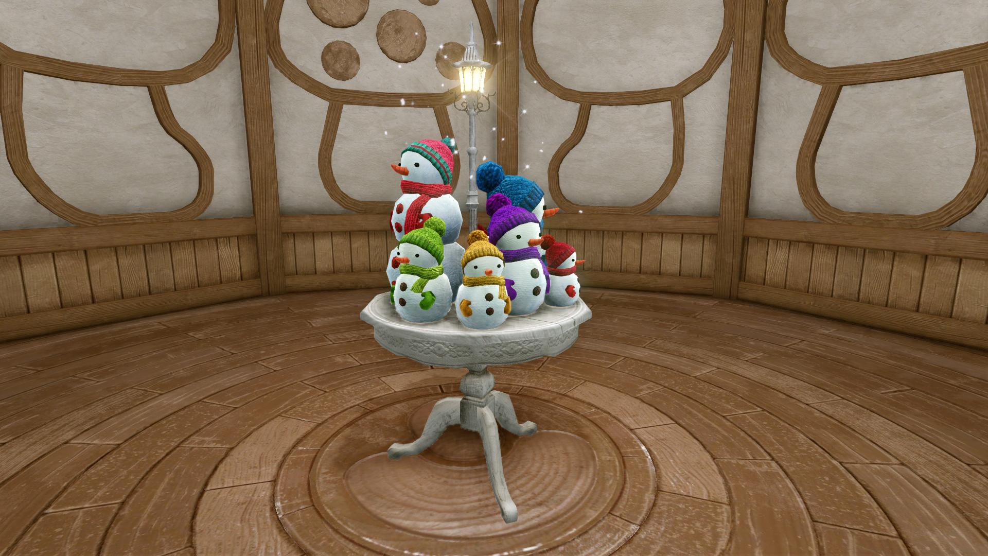 Столик с семейством снеговичков