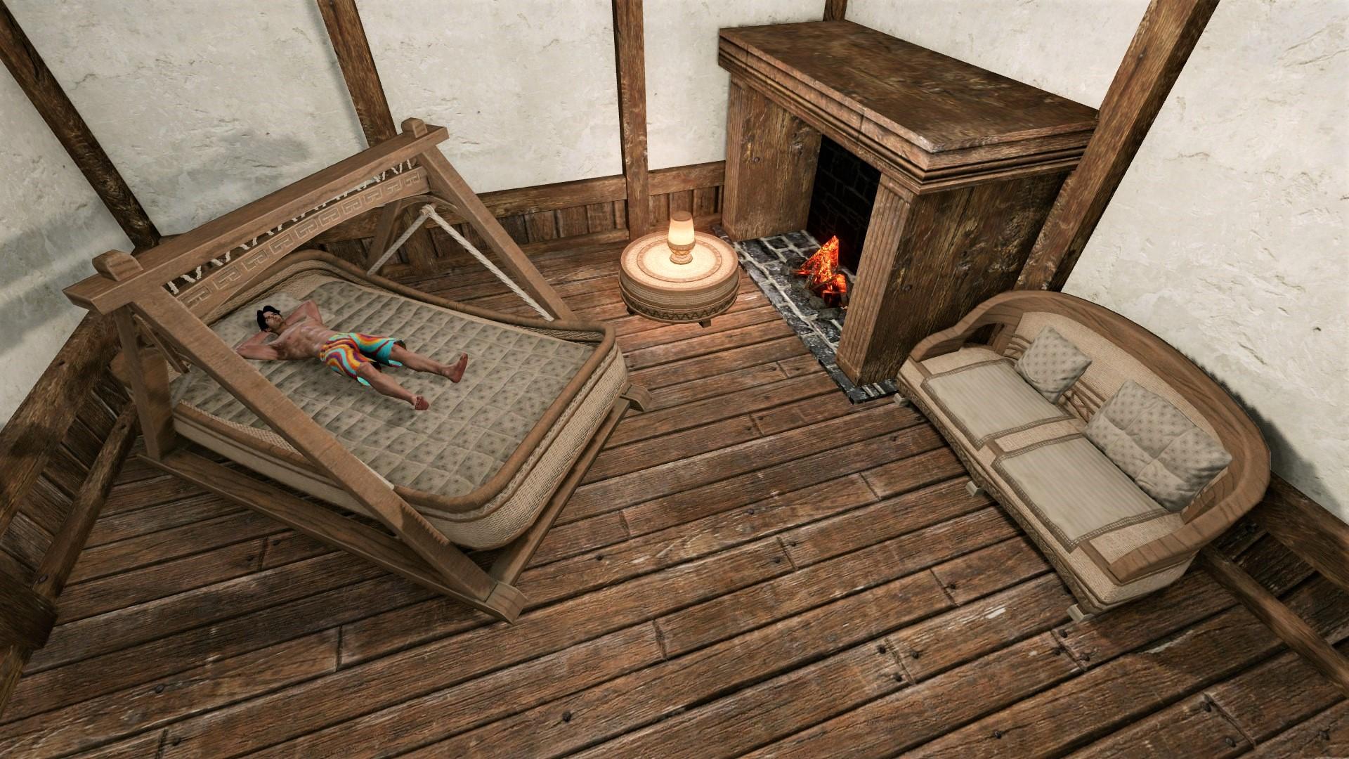 Кушетка, столик, лампа и диванчик
