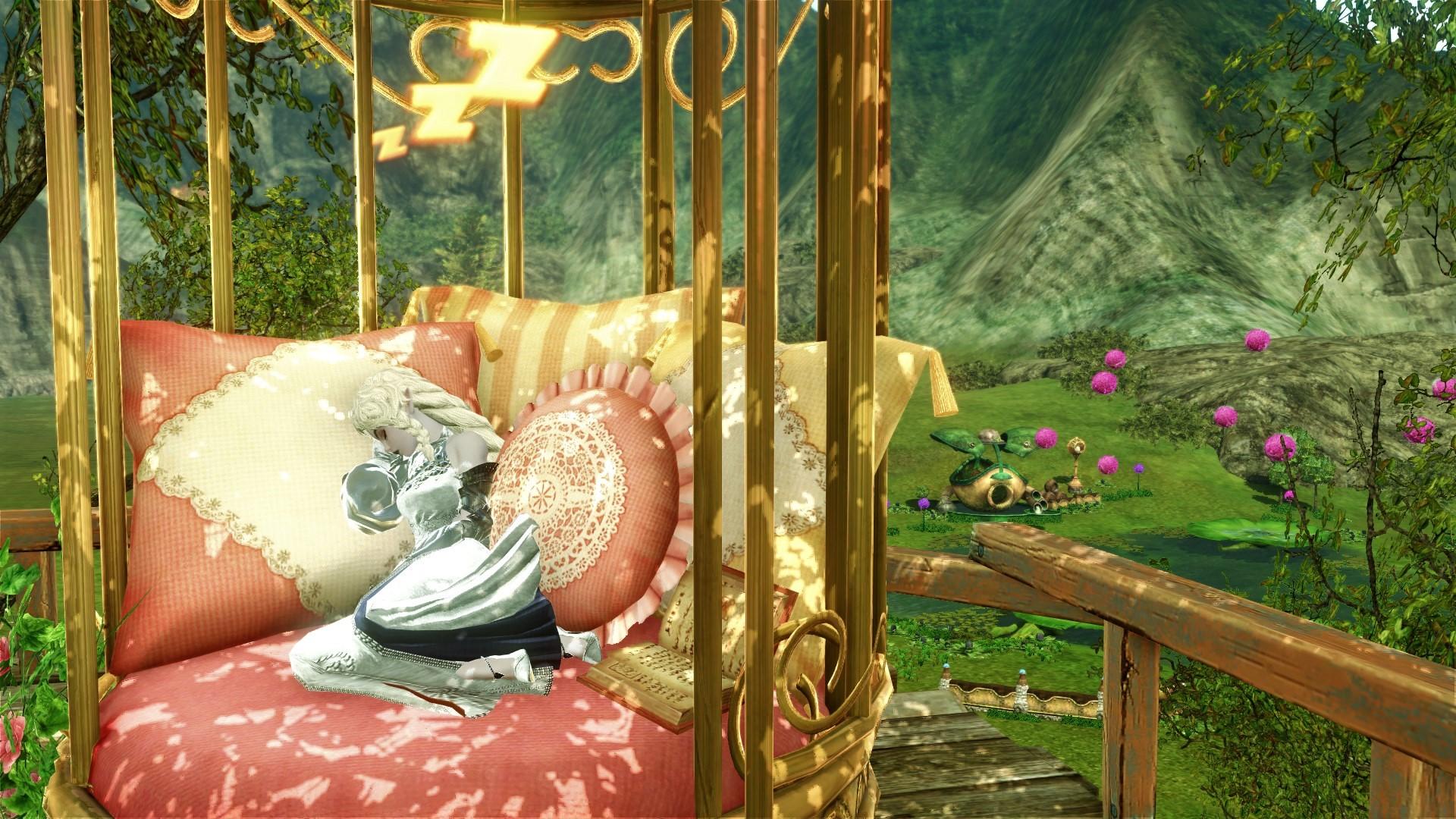 Персонаж спит в кровати «Птичья клетка»